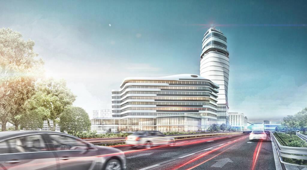 Im Zeitraum von November 2018 bis Mai 2020 errichtet Swietelsky rund 30.000 m2 Nutzfläche, davon rund 25.000 m2 Bürofläche und eine Tiefgarage mit 105 Stellplätzen am Areal des Wiener Flughafens. Das Auftragsvolumen beläuft sich auf rund 55 Mio. Euro. Fotocredit:Flughafen Wien AG/HNP architects ZT GmbH  (28.12.2018)
