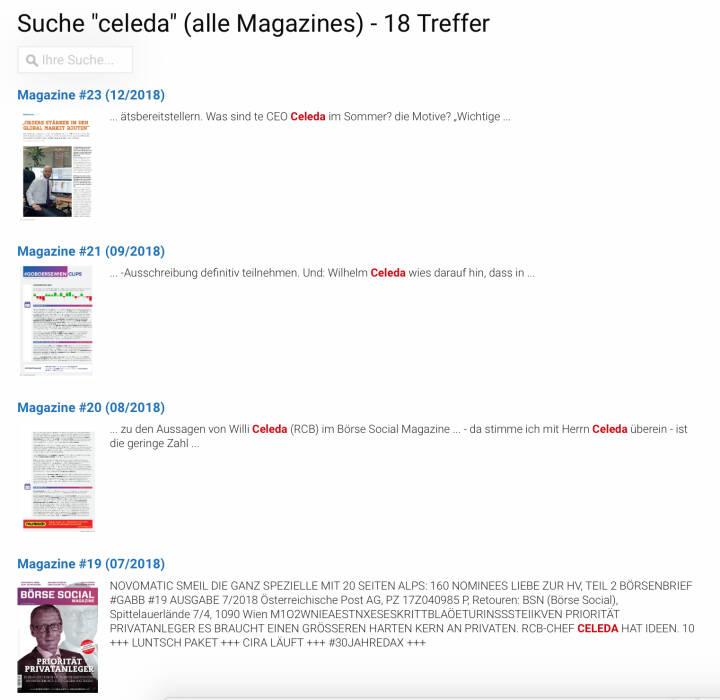Die Suche quer über alle Magazines auf http://www.boerse-social.com/magazine . Hier das Trefferbild von Wilhelm Celeda https://boerse-social.com/pdf/search_bsm/celeda