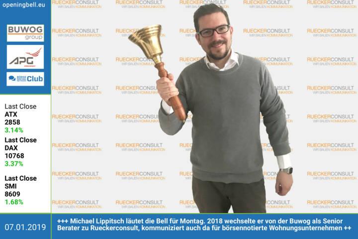 7.1.: Michael Lippitsch läutet die Opening Bell für Montag. 2018 wechselte er von der Buwog als Senior Berater zu Rueckerconsult, kommuniziert auch hier für börsennotierte Wohnungsunternehmen https://www.rueckerconsult.de https://www.facebook.com/groups/GeldanlageNetwork