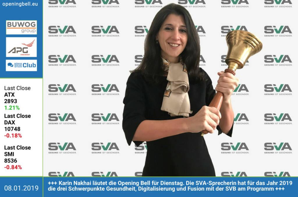 8.1.: Karin Nakhai läutet die Opening Bell für Dienstag. Die SVA-Sprecherin hat für das Jahr 2019 die drei Schwerpunkte Gesundheit, Digitalisierung und Fusion mit der SVB am Programm https://www.svagw.at https://www.facebook.com/groups/GeldanlageNetwork https://www.facebook.com/search/top/?q=sportsblogged http://www.runplugged.com (08.01.2019)