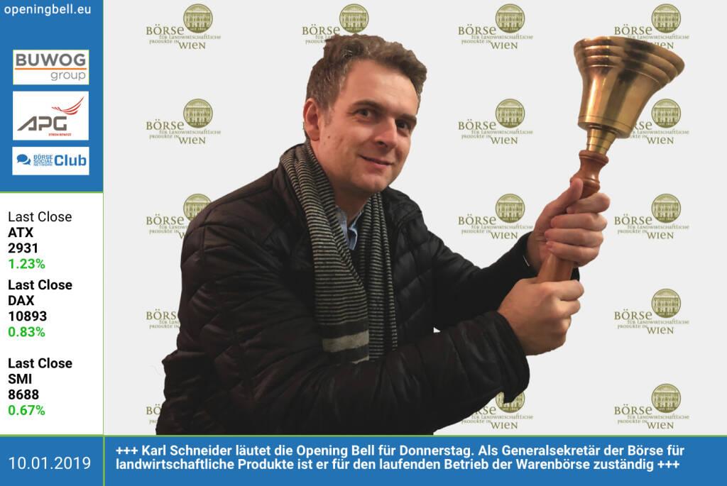 10.1.: Karl Schneider läutet die Opening Bell für Donnerstag. Als Generalsekretär der Börse für landwirtschaftliche Produkte ist er für den laufenden Betrieb der Warenbörse zuständig. http://www.boersewien.at https://www.facebook.com/groups/GeldanlageNetwork (10.01.2019)
