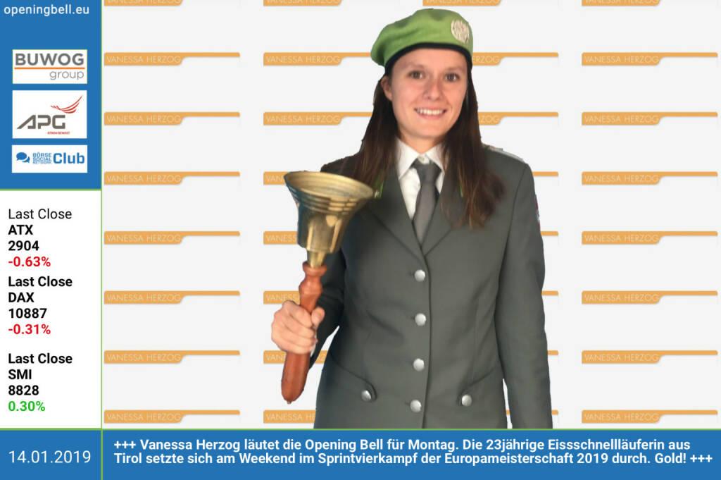 14.1.: Vanessa Herzog läutet die Opening Bell für Montag. Die 23jährige Eissschnellläuferin aus Tirol setzte sich am Wochenende im Sprintvierkampf der Europameisterschaft 2019 durch. Gold!  (14.01.2019)