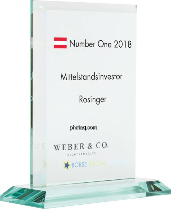 Number One Awards 2018 - Mittelstandsinvestor Rosinger