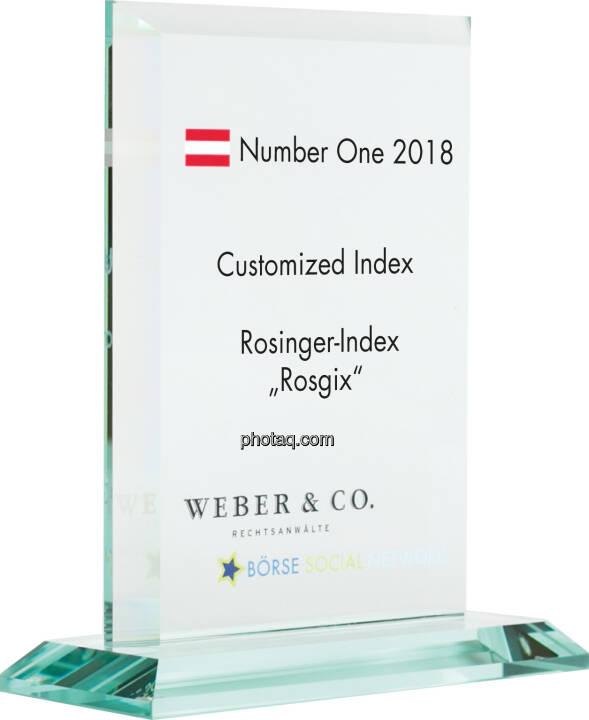 Number One Awards 2018 - Customized Index Rosiner-Index Rosgix