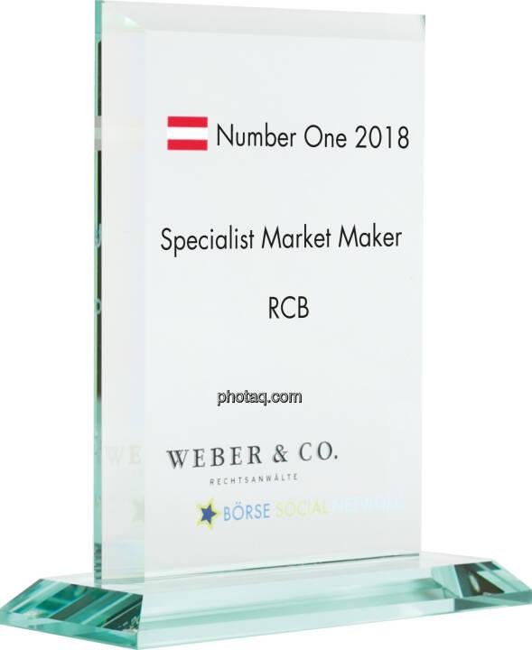 Number One Awards 2018 - Specialist Market Maker RCB