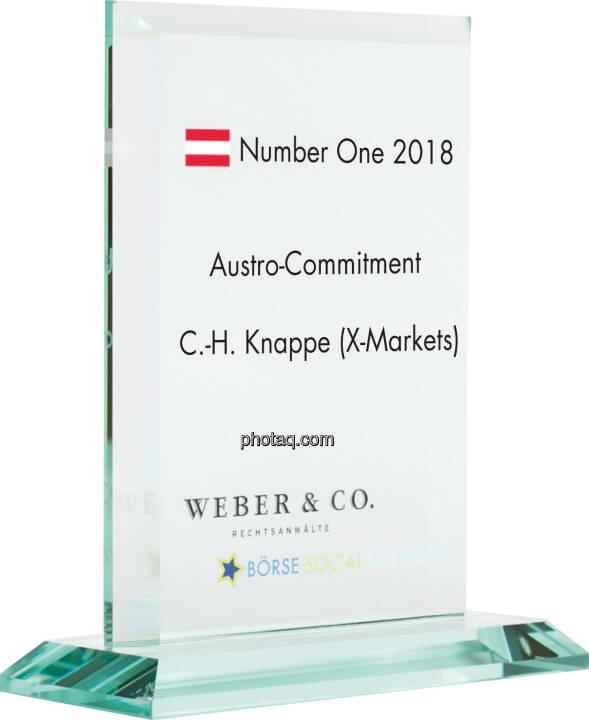 Number One Awards 2018 - Austro-Commitment Christian-Hendrik Knappe (X-markets)
