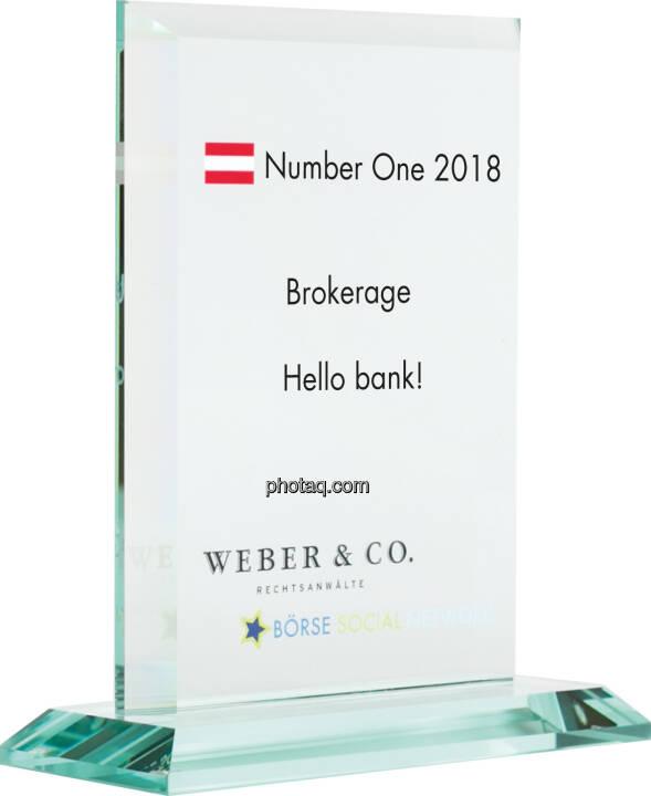 Number One Awards 2018 - Brokerage Hello bank!