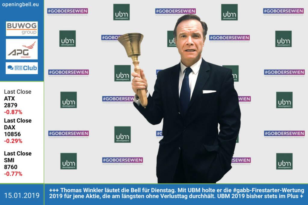 15.1.: Thomas Winkler läutet die Opening Bell für Dienstag. Mit UBM holte er die #gabb-Firestarter-Wertung 2019 für jene Aktie, die am längsten ohne Verlusttag durchhält. UBM 2019 bisher an allen 9 Handelstagen als einzige Aktie stets im Plus http://www.ubm.at http://www.boerse-social.com/gabb https://www.facebook.com/groups/GeldanlageNetwork (15.01.2019)