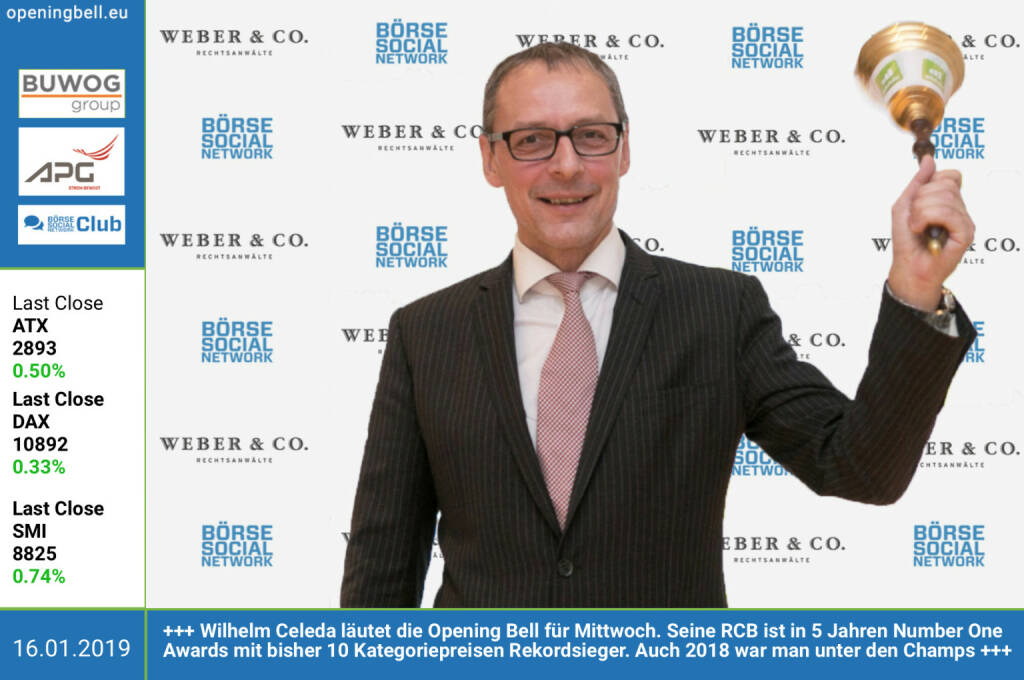 16.1.: Wilhelm Celeda läutet die Opening Bell für Mittwoch. Seine RCB ist in 5 Jahren Number One Awards mit bisher 10 Kategoriepreisen Rekordsieger. Auch 2018 war man unter den Champs. Mehr dazu heute im http://www.boerse-social.com/gabb http://www.rcb.at http://www.weber.co.at/ (16.01.2019)