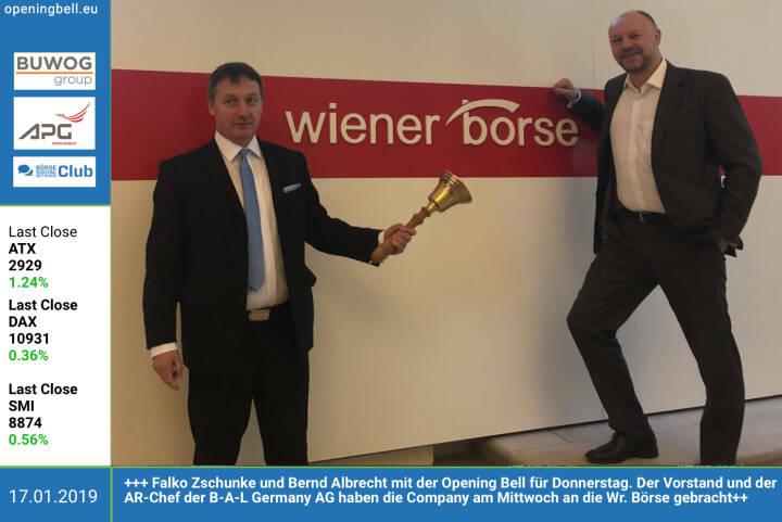 17.1.: Falko Zschunke und Bernd Albrecht mit der Opening Bell für Donnerstag. Der Vorstand und der AR-Chef der B-A-L Germany AG haben die Company am Mittwoch an die Wiener Börse gebracht. http://bal-ag.de https://www.facebook.com/groups/GeldanlageNetwork