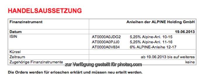 Alpine-Anleihen vom Handel ausgesetzt