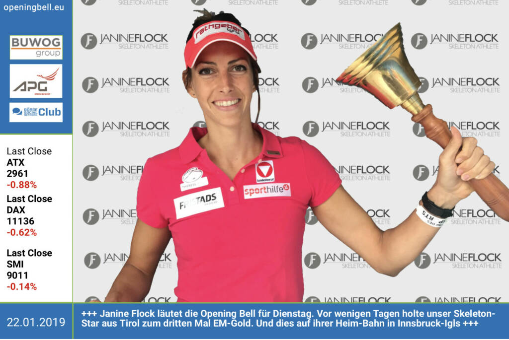 22.1.:  Janine Flock läutet die Opening Bell für Dienstag. Vor wenigen Tagen holte unser Skeleton-Star aus Tirol zum dritten Mal EM-Gold. Und dies auf ihrer Heim-Bahn in Innsbruck-Igls https://www.janine-flock.at https://www.facebook.com/search/top/?q=sportsblogged http://www.runplugged.com (22.01.2019)