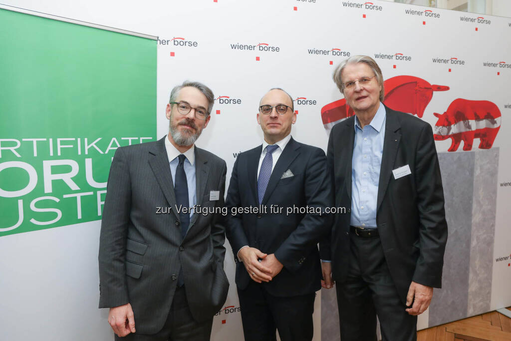 Heiko Geiger (Vontobel), Thomas Wulf (Generalsekretär EUSIPA), Hartmut Knüppel (DDV), © Zertifikate Forum Austria/APA-Fotoservice/Tanzer Fotograf/in: Richard Tanzer (23.01.2019)
