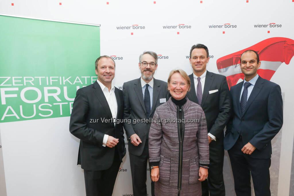 Frank Weingarts (UniCredit onemarket), Heiko Geiger (Vontobel), Heike Arbter (RCB), Christoph Boschan (Wiener Börse), Pedram Payami (Erste Group), © Zertifikate Forum Austria/APA-Fotoservice/Tanzer Fotograf/in: Richard Tanzer (23.01.2019)
