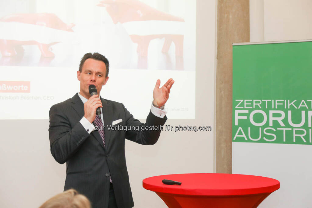 Christoph Boschan (Wiener Börse), © Zertifikate Forum Austria/APA-Fotoservice/Tanzer Fotograf/in: Richard Tanzer (23.01.2019)