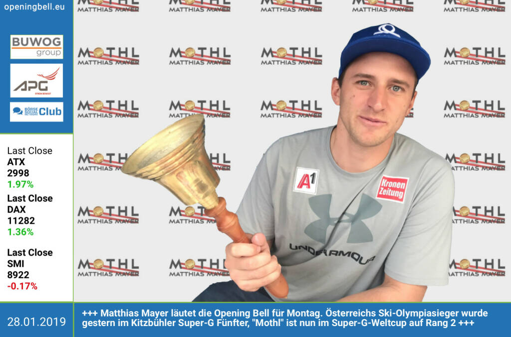 28.1.: Matthias Mayer läutet die Opening Bell für Montag. Österreichs Ski-Olympiasieger wurde gestern im Kitzbühler Super-G Fünfter, Mothl ist nun im Super-G-Weltcup auf Rang 2 http://www.matthiasmayer.at/ https://www.facebook.com/search/top/?q=sportsblogged http://www.runplugged.com (28.01.2019)