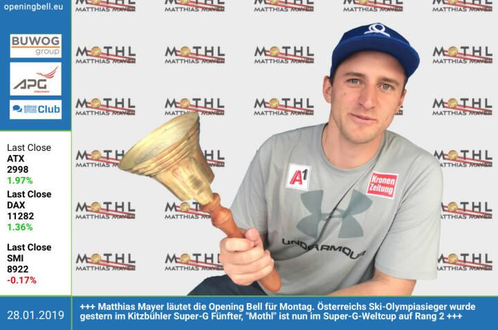 28.1.: Matthias Mayer läutet die Opening Bell für Montag. Österreichs Ski-Olympiasieger wurde gestern im Kitzbühler Super-G Fünfter, Mothl ist nun im Super-G-Weltcup auf Rang 2 http://www.matthiasmayer.at/ https://www.facebook.com/search/top/?q=sportsblogged http://www.runplugged.com