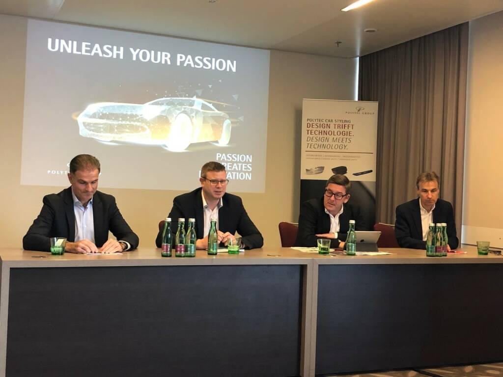 Polytec: Neues Vorstands-Team v.li.: Peter Haidenek (CFO), Markus Huemer (CEO), Peter Bernscher (CSO), Heiko Gabbert (COO), Credit: Börse Social Network, © Aussender (29.01.2019)