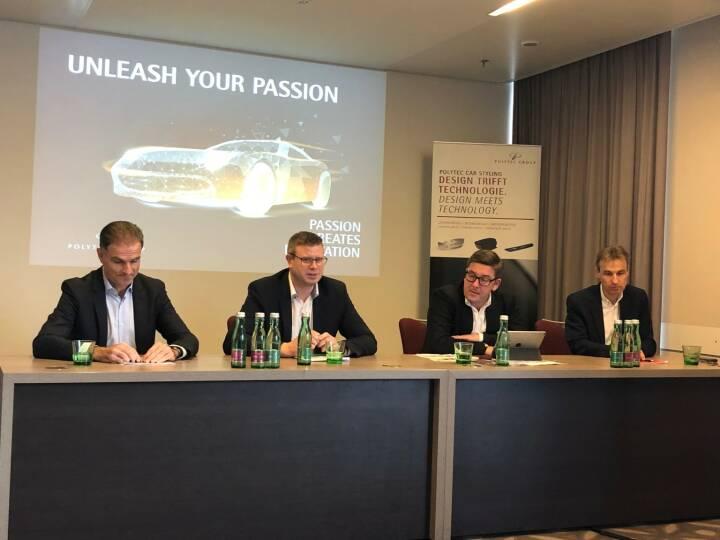 Polytec: Neues Vorstands-Team v.li.: Peter Haidenek (CFO), Markus Huemer (CEO), Peter Bernscher (CSO), Heiko Gabbert (COO), Credit: Börse Social Network