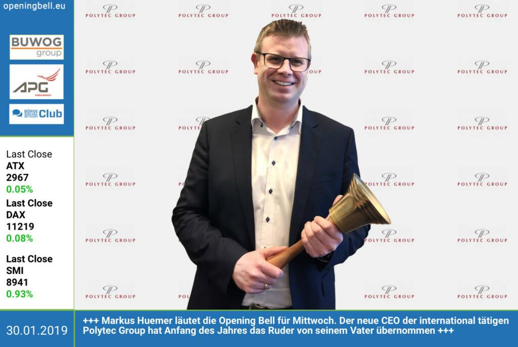 30.1.: Markus Huemer läutet die Opening Bell für Mittwoch. Der neue CEO der international tätigen Polytec Group hat Anfang des Jahres das Ruder von seinem Vater übernommen. http://polytec-group.com  https://www.facebook.com/groups/GeldanlageNetwork (30.01.2019)