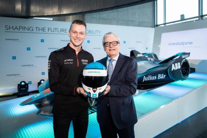 Formel E-Fahrer Maximilian Günther und voestalpine-CEO Wolfgang Eder präsentieren das neue voestalpine-eigene FIA Formel E Gen2 Auto, Credit: voestalpine