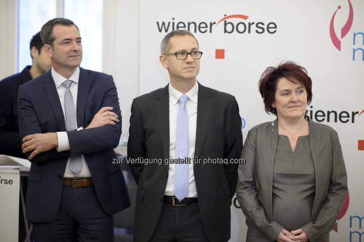 Pascal Schmidt (Marinomed), Günther Artner (Erste Group), Eva Prieschl-Grassauer (Marinomed)