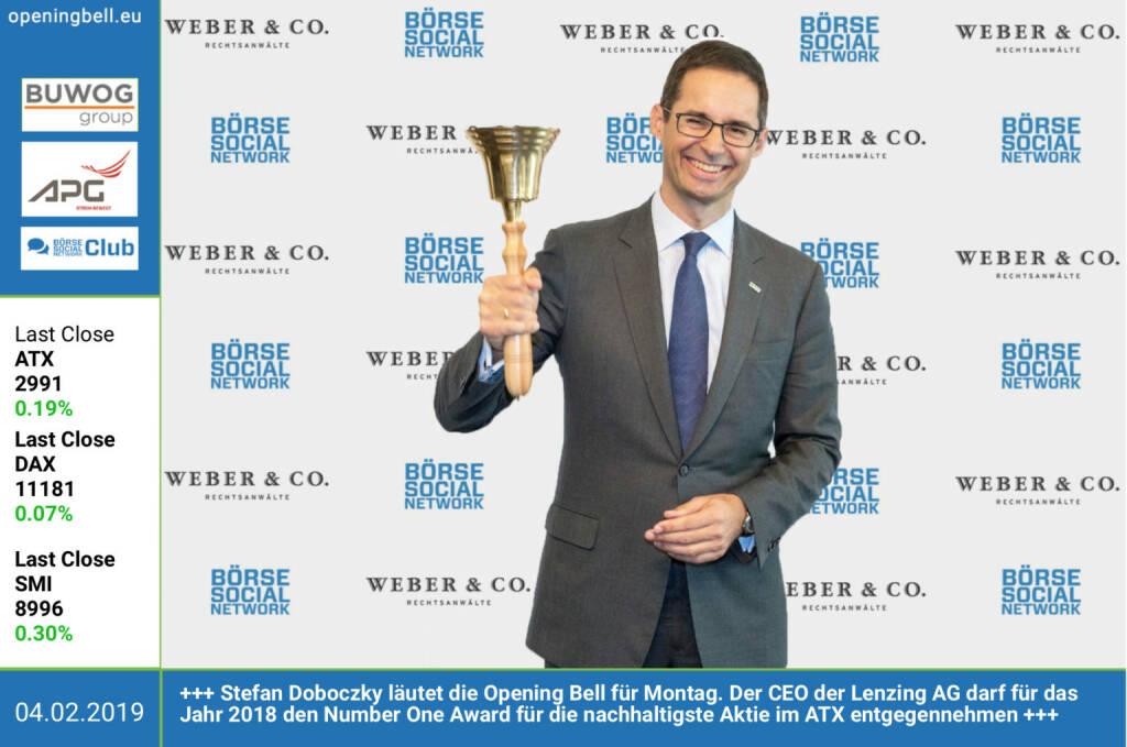 4.2.: Stefan Doboczky läutet die Opening Bell für Montag. Der CEO der Lenzing AG darf für das Jahr 2018 den Number One Award für die nachhaltigste Aktie im ATX entgegennehmen http://www.lenzing.com https://boerse-social.com/numberone/2018 http://www.rcb.at https://www.facebook.com/groups/GeldanlageNetwork  (04.02.2019)