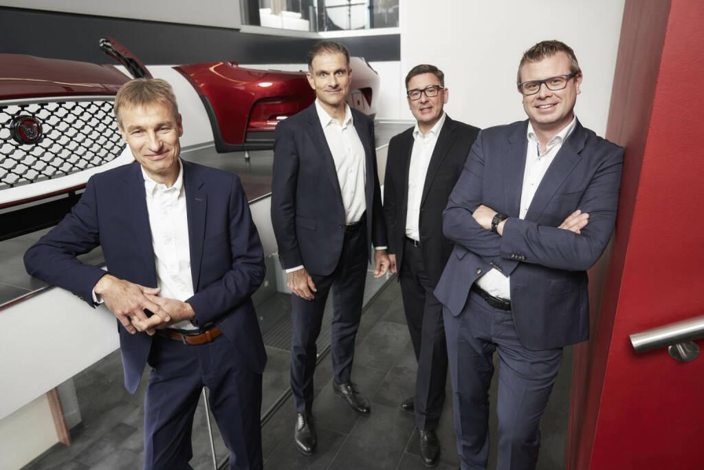 Das Vorstands-Quartett der Polytec Group, von links: Heiko Gabbert (COO), Peter Haidenek (CFO), Peter Bernscher (CSO) und Markus Huemer (CEO),  Credit: Polytec, © Aussender (05.02.2019)