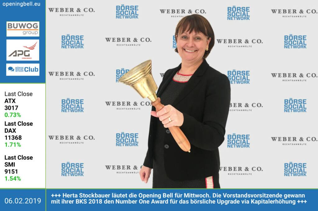 6.2.: Herta Stockbauer läutet die Opening Bell für Mittwoch. Die Vorstandsvorsitzende gewann mit ihrer BKS 2018 den Number One Award für das börsliche Upgrade via Kapitalerhöhung  http://www.bks.at https://boerse-social.com/numberone/2018 http://www.rcb.at https://www.facebook.com/groups/GeldanlageNetwork  (06.02.2019)