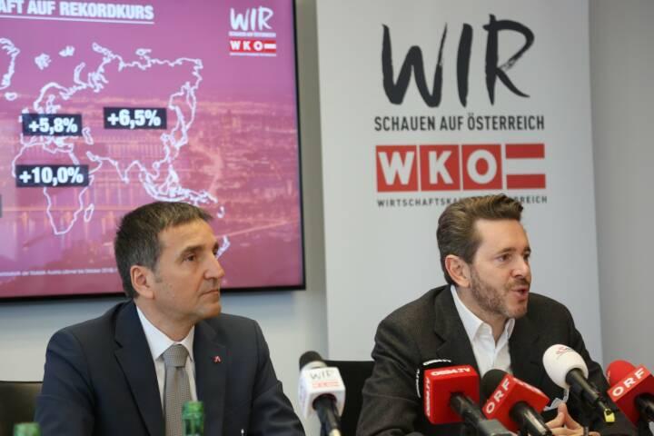 Österreichs Exporte steuern auf 150-Milliarden-Euro-Marke zu - AUSSENWIRTSCHAFT AUSTRIA der WKÖ fokussiert auf neue Wachstumsmärkte, v.l.n.r.: Michael Otter, Leiter der AUSSENWIRTSCHAFT AUSTRIA und WKÖ-Präsident Harald Mahrer, Fotocredit:WKÖ/DMC
