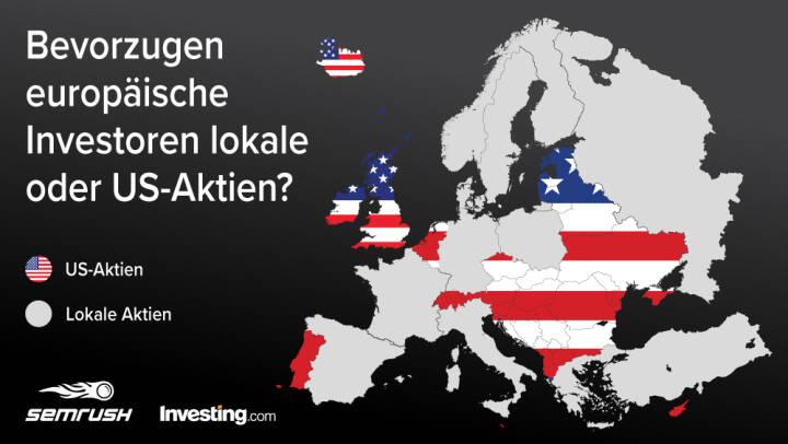 Grafik: Der europäische Finanzmarkt, 70 Prozent europäischer Anleger investieren in US-Unternehmen, Credit: SEMrush