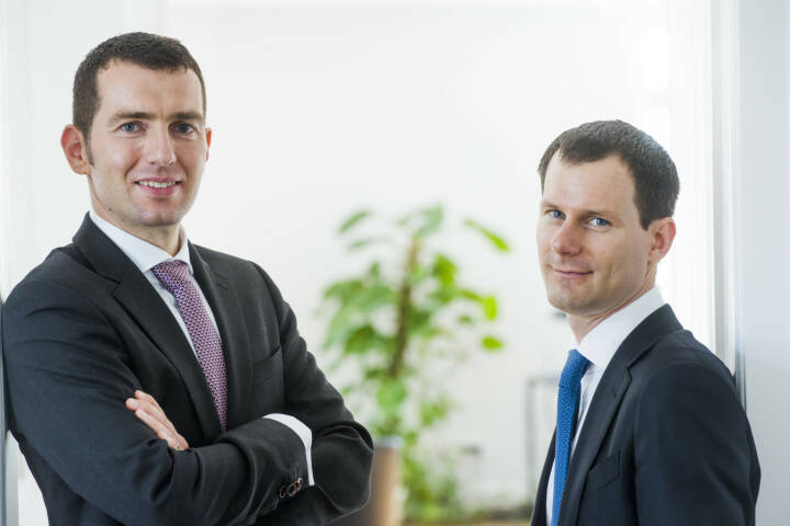"""Dr. Uwe Rathausky und J. Henrik Muhle, Vorstände und Fondsmanager bei der GANÉ Aktiengesellschaft, wurden von der Jury des Finanzen Verlages zu den """"Fondsmanagern des Jahres 2019"""" gekürt. Credit: Gané"""