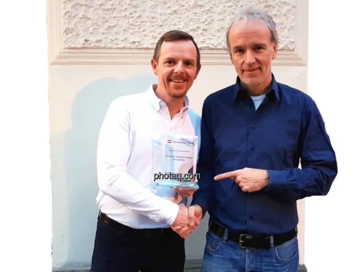 Christian-Hendrik Knappe (X-markets), Christian Drastil (BSN) - Number One Awards 2018 - Austro-Commitment