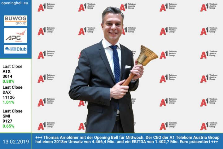 13.2.: Thomas Arnoldner mit der Opening Bell für Mittwoch. Der CEO der A1 Telekom Austria Group hat einen 2018er Umsatz von 4.466,4 Mio. und ein EBITDA von 1.402,7 Mio. Euro präsentiert. https://www.a1.group https://www.facebook.com/groups/GeldanlageNetwork