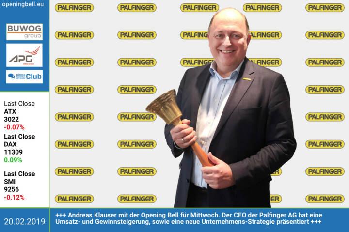 20.2.: Andreas Klauser mit der Opening Bell für Mittwoch. Der CEO der Palfinger AG hat eine Umsatz- und Gewinnsteigerung, sowie eine neue Unternehmens-Strategie präsentiert. http://palfinger.ag https://www.facebook.com/groups/GeldanlageNetwork