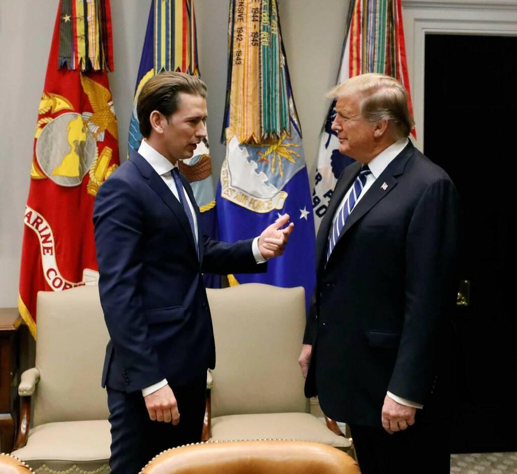 Am 20. Februar 2019 traf Bundeskanzler Sebastian Kurz (l.) im Rahmen seiner Washington Reise den Amerikanischen Präsident Donald Trump (r.). FotografIn: Dragan Tatic, Quelle: BKA (21.02.2019)