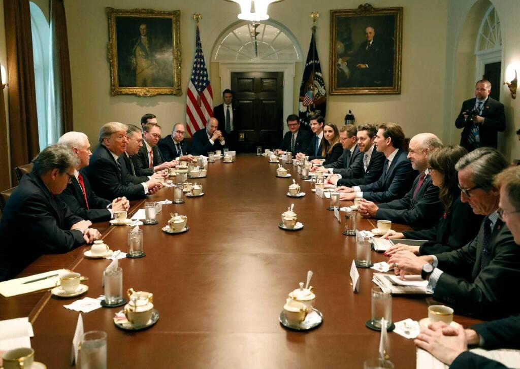 Am 20. Februar 2019 traf Bundeskanzler Sebastian Kurz im Rahmen seiner Washington Reise den Amerikanischen Präsident Donald Trump. FotografIn: Dragan Tatic Quelle: BKA (21.02.2019)