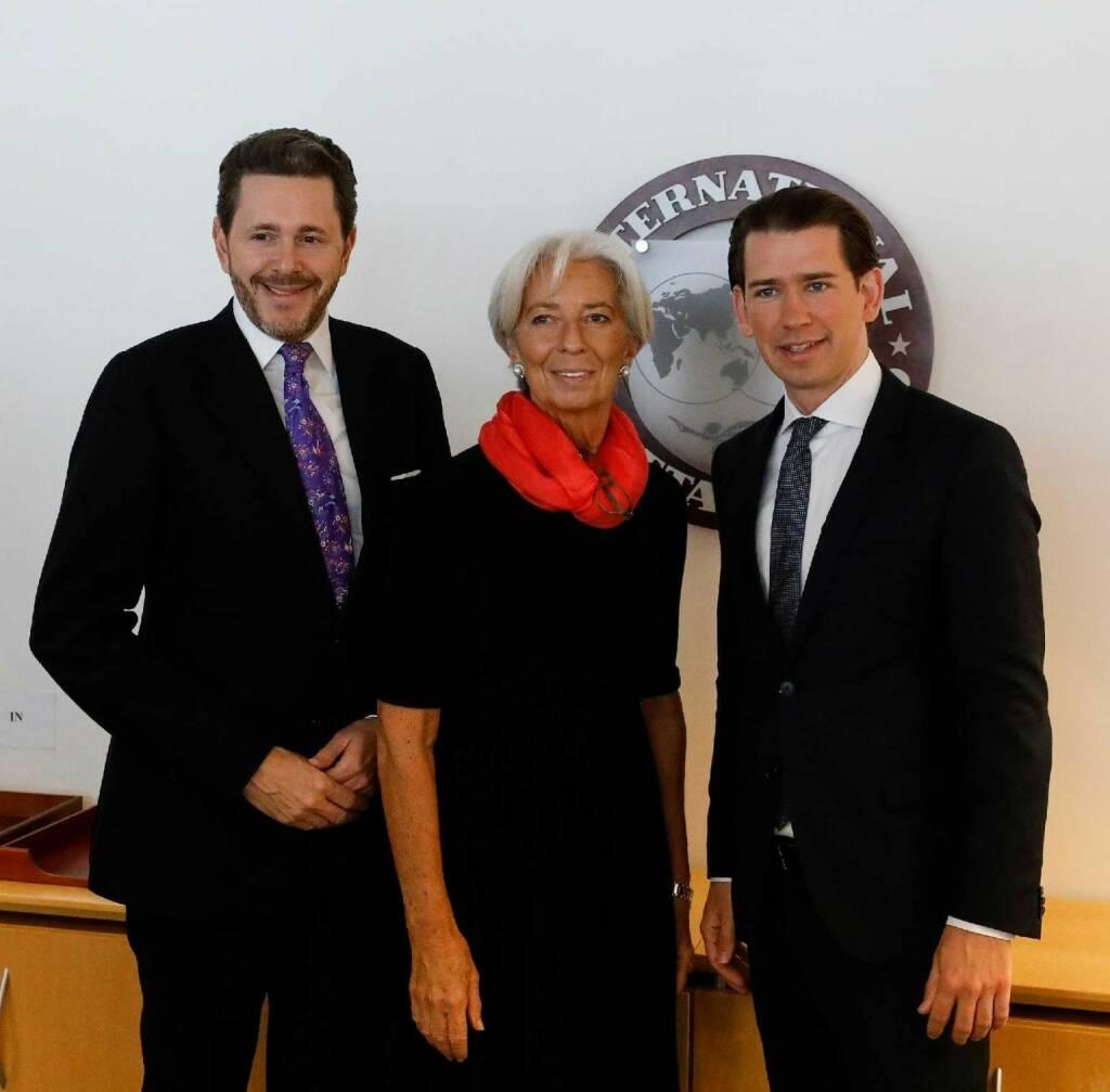 Am 21. Februar 2019 traf Bundeskanzler Sebastian Kurz (r.) im Rahmen seiner Washington Reise die IWF Präsidentin Christine Lagarde (m.). Im Bild mit Harald Mahrer, WKO Präsident (l.). FotografIn: Dragan Tatic Quelle: BKA (21.02.2019)