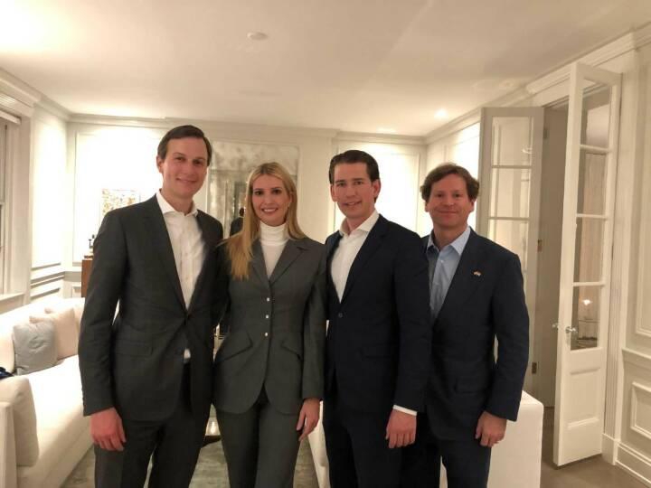 m 21. Februar 2019 traf Bundeskanzler Sebastian Kurz (m.r.) im Rahmen seiner Washington Reise Ivanka Trump (m.l.) und Jared Kushner (l.). Im Bild mit dem U.S. Botschafter Trevor Traina (r.). FotografIn: Dragan Tatic Quelle: BKA