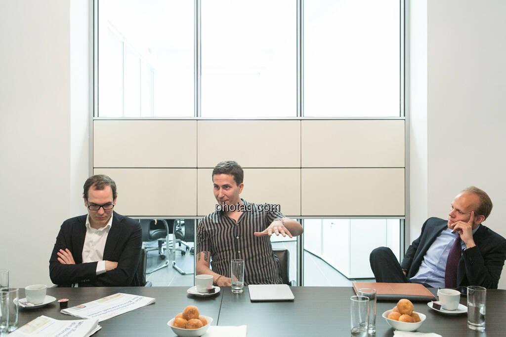Nikolaus Jilch (Die Presse), Robert Zikmund (FM4), Ronald Stöferle (Incrementum), © finanzmarktfoto.at/Martina Draper (19.06.2013)