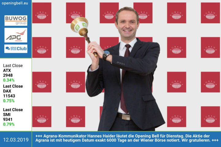 12.3.: Agrana-Kommunikator Hannes Haider läutet die Opening Bell für Dienstag. Die Aktie der Agrana ist mit heutigem Datum exakt 6000 Tage an der Wiener Börse notiert. Wir gratulieren https://www.agrana.com https://www.facebook.com/groups/GeldanlageNetwork