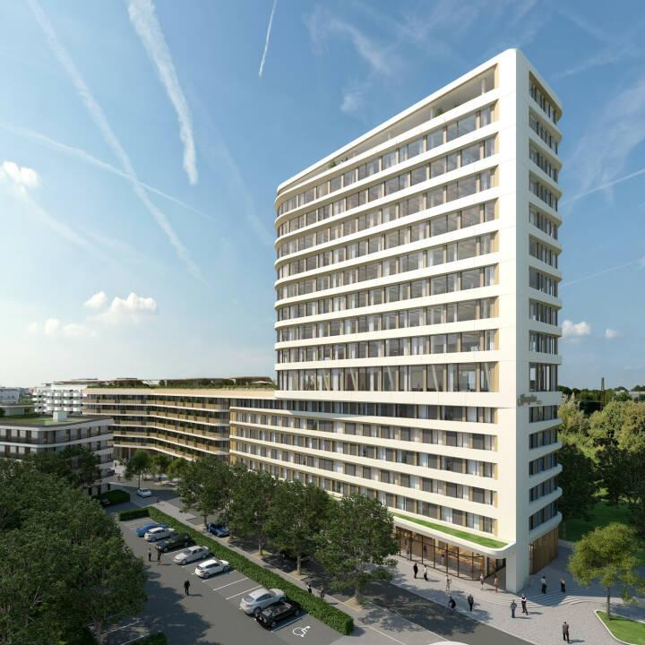 CA Immo, Gebäudekomplex Neo in München, Credit: CA Immo vom dach eines nachbargebäudes stand: september 2016