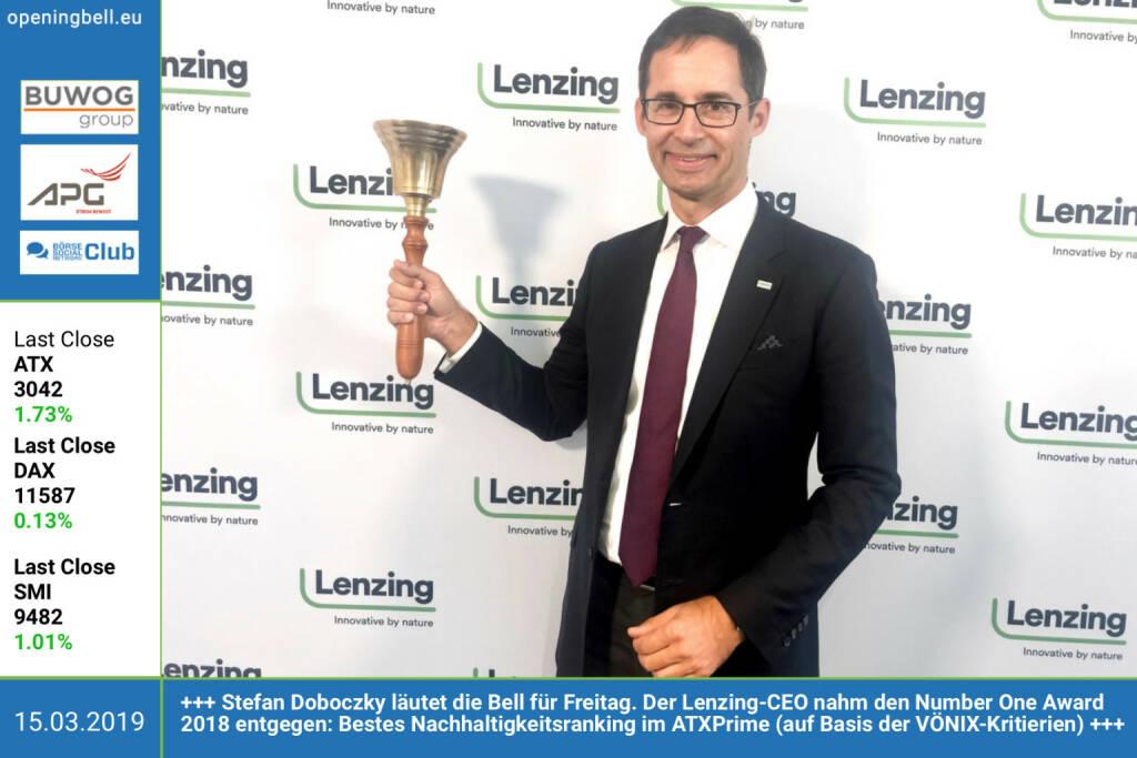 15.3.: Stefan Doboczky läutet die Opening Bell für Freitag. Der Lenzing-CEO nahm den Number One Award 2018 entgegen: Bestes Nachhaltigkeitsranking im ATXPrime (auf Basis der VÖNIX-Kritierien) https://boerse-social.com/numberone/2018 https://www.lenzing.com http://www.voenix.at/ http://weber.co.at https://www.facebook.com/groups/GeldanlageNetwork (15.03.2019)