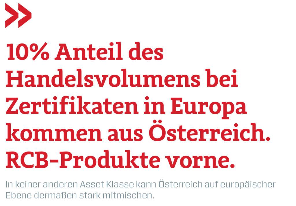 10% Anteil des Handelsvolumens bei Zertifikaten in Europa kommen aus Österreich. RCB-Produkte vorne.  In keiner anderen Asset Klasse kann Österreich auf europäischer Ebene dermaßen stark mitmischen. (16.03.2019)