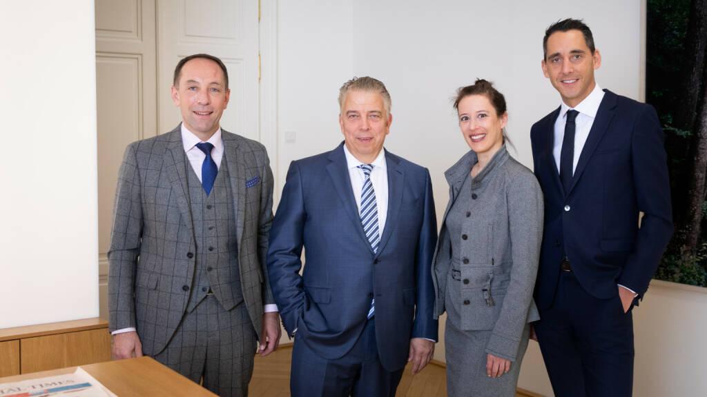 B&C Gruppe: B&C Industrieholding stellt neue Managementstruktur vor,  Anfang Jänner 2019 wurde der international anerkannte Industrie-Experte Peter Edelmann mit der Gesamtleitung der Holdinggesellschaften der B&C-Gruppe betraut. Diese steht im Eigentum der B&C Privatstiftung und ist Mehrheitsaktionärin der börsennotierten Industrieunternehmen Lenzing AG, AMAG Austria Metall AG und der Semperit AG Holding. Weiters hält die Gruppe zehn Prozent an der VAMED und mehrere Beteiligungen an zukunftsweisenden Start-ups und Wachstumsunternehmen im Technologiebereich. v.l.n.r. Mag. Patrick Prügger, Dipl.-Betriebswirt Peter Edelmann, Dr. Mariella Schurz, Mag. Thomas Zimpfer; Fotocredit: Sebastian Philipp  (18.03.2019)