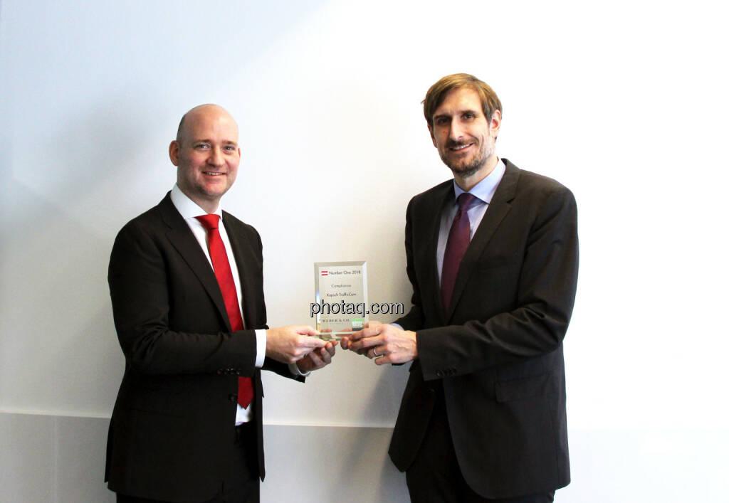 Hans Lang (Kapsch TrafficCom), Christoph Moser (Weber & Co.) - Number One Awards 2018 - Compliance Kapsch TrafficCom, © photaq (18.03.2019)