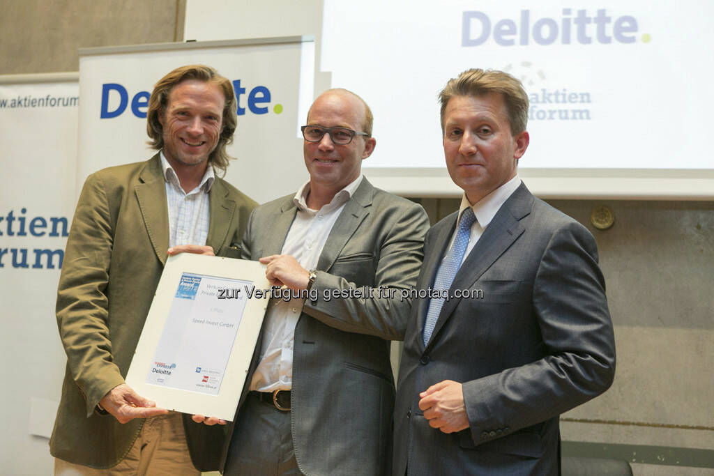 Platz 2 für Speed Invest: Daniel Keiper-Knorr und Oliver Holle (Gründer), Alexander Hohendanner (Deloitte), © Martina Draper für BE (20.06.2013)