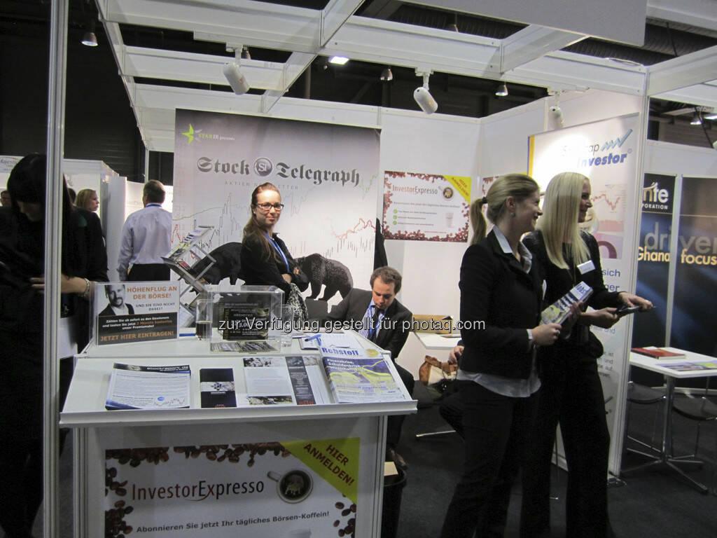 Der Stand von Investor-SMS, Stock-Telegraph und Smallcap-Investor, © IRW-Press (15.12.2012)