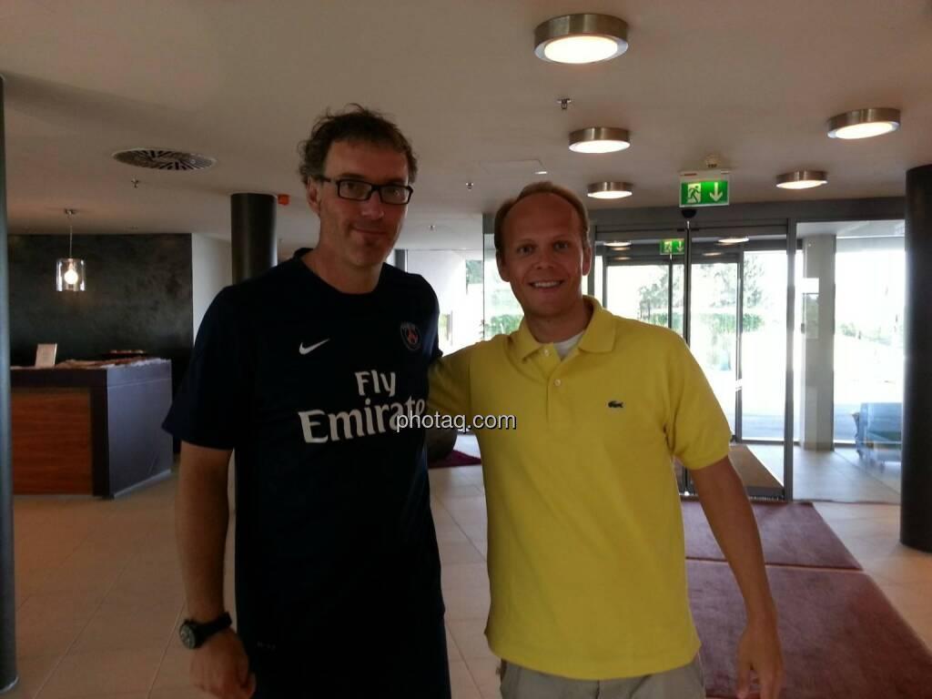 Laurent Blanc (Paris Saint Germain) und Ronald Stöferle (Incrementum) (11.07.2013)