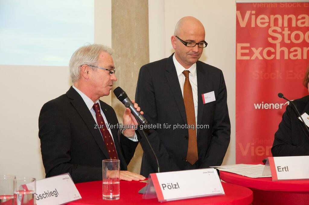 Georg Pölzl (Post AG), Peter Ertl (KPMG), © Wiener Börse, Claus Beischlager (15.12.2012)